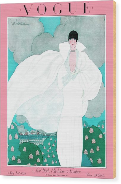 A Vintage Vogue Magazine Cover Of A Woman Wood Print