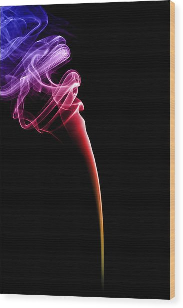 Colourful Smoke Wood Print