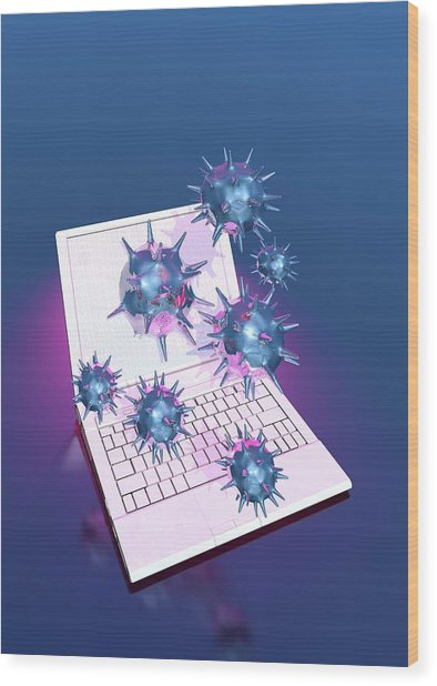 Computer Virus Wood Print by Victor Habbick Visions/science Photo Library