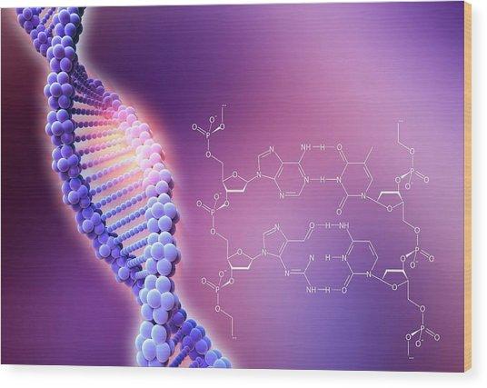 Crispr-cas9 Gene Editing Wood Print by Alfred Pasieka/science Photo Library