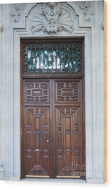Distinctive Doors In Madrid Spain Wood Print
