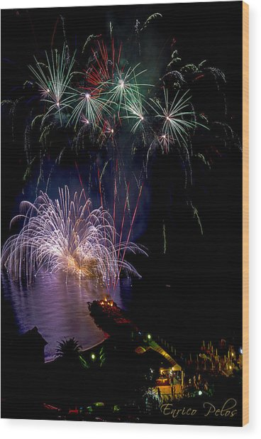 Wood Print featuring the photograph Fireworks - Fuochi Artificiali by Enrico Pelos