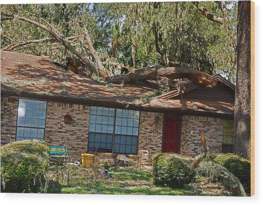 Hurricane Irma Residential Storm Damage Wood Print by Millard H. Sharp