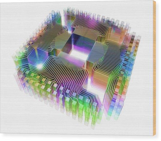 Quantum Computer Wood Print by Alfred Pasieka