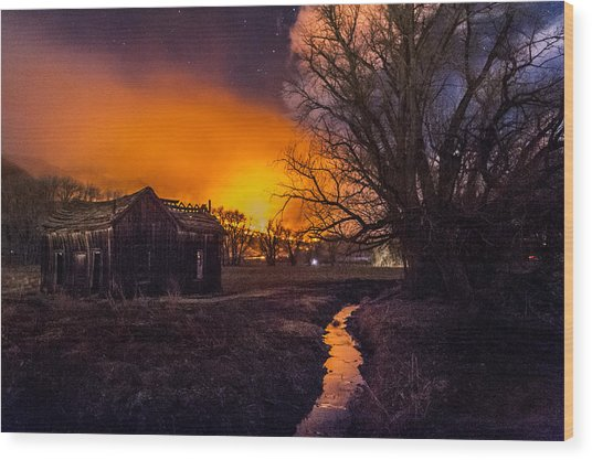 Round Fire Wood Print