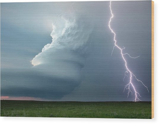 Supercell Thunderstorm Wood Print
