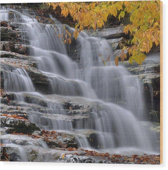 Waterfall In Autumn Wood Print