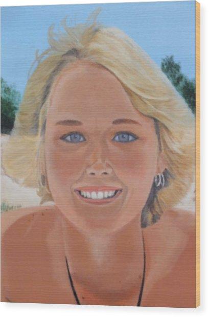 70's Girl On The Beach Wood Print by Scott Kingery