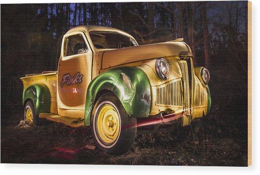 7136 Old Truck Lightpainting Wood Print by Deidre Elzer-Lento