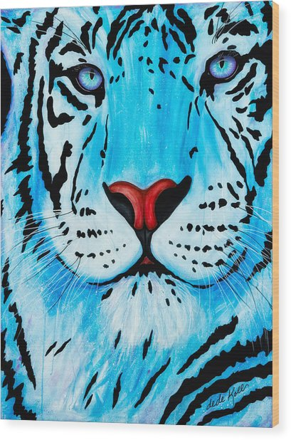 Wood Print featuring the painting Blue Bengal by Dede Koll