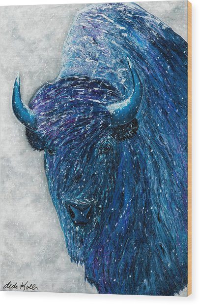 Wood Print featuring the painting Buffalo  - Ready For Winter by Dede Koll
