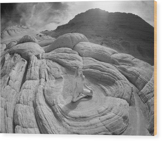 7817 High Desert Nude Meditation  Wood Print