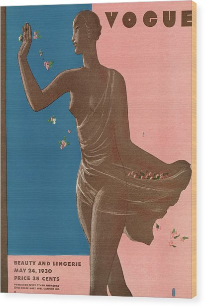 A Vintage Vogue Magazine Cover Of A Woman Wood Print by Eduardo Garcia Benito