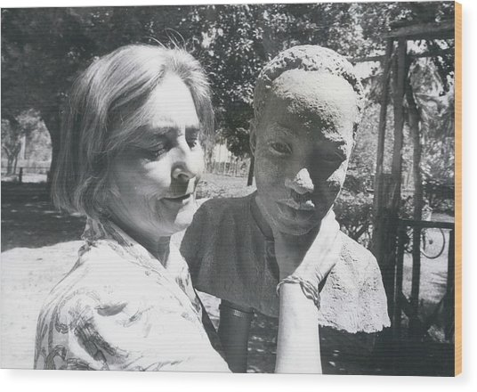 British-born Sculptress Completes Bust Of President Nyerere Wood Print by Retro Images Archive