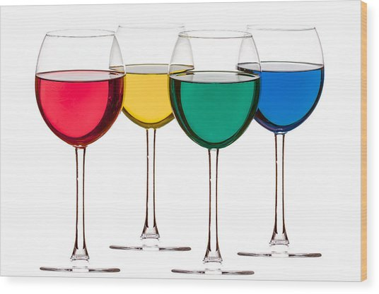 Colorful Drinks Wood Print