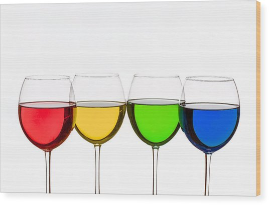 Colorful Wine Glasses Wood Print
