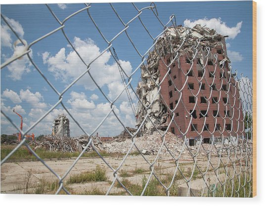 Demolition Of Detroit Housing Towers Wood Print by Jim West