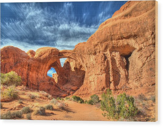 Double Arch In Arches National Park Wood Print by Pierre Leclerc Photography