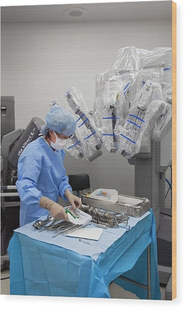 Laparoscopic Robotic Cancer Surgery Wood Print by Jim West