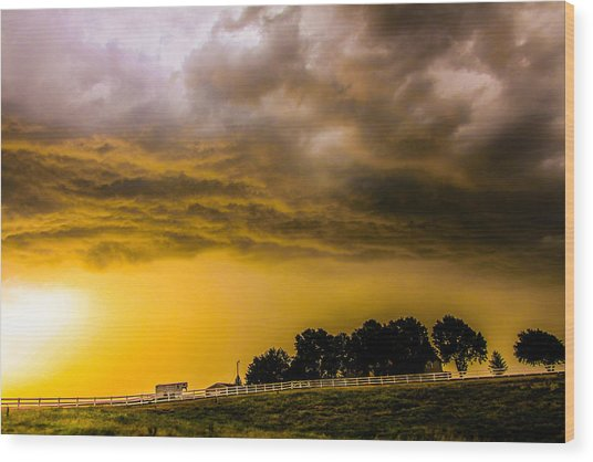 Late Afternoon Nebraska Thunderstorms Wood Print