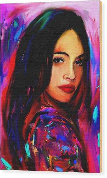 Megan Fox Wood Print by Bogdan Floridana Oana
