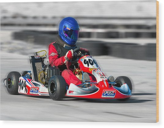 Racing Go Kart Wood Print