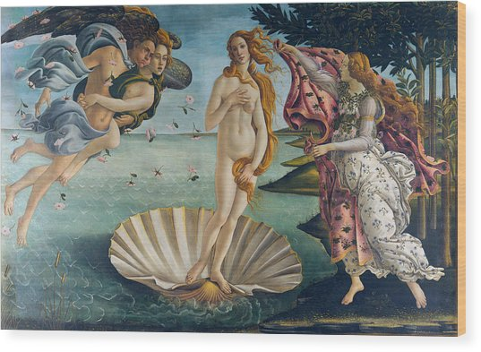 Wood Print featuring the painting The Birth Of Venus by Sandro Botticelli