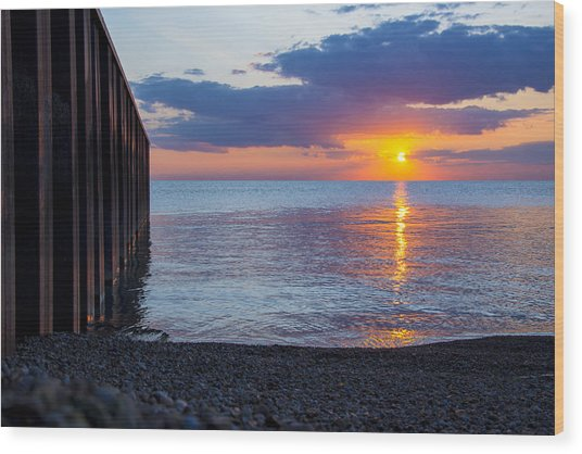8.16.13 Sunrise Over Lake Michigan North Of Chicago 001 Wood Print