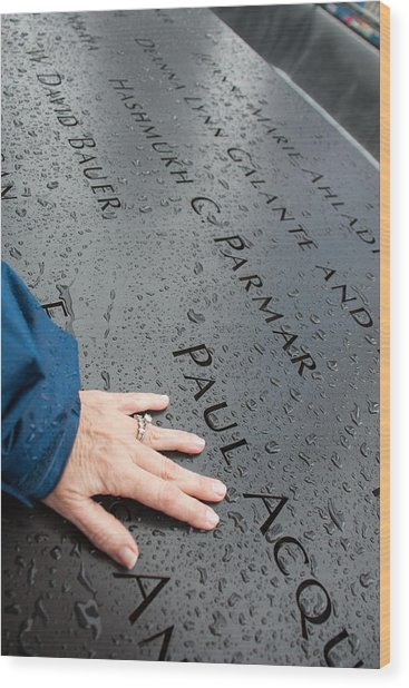 8462 911 Memorial A Touch Of A Hand Wood Print by Deidre Elzer-Lento