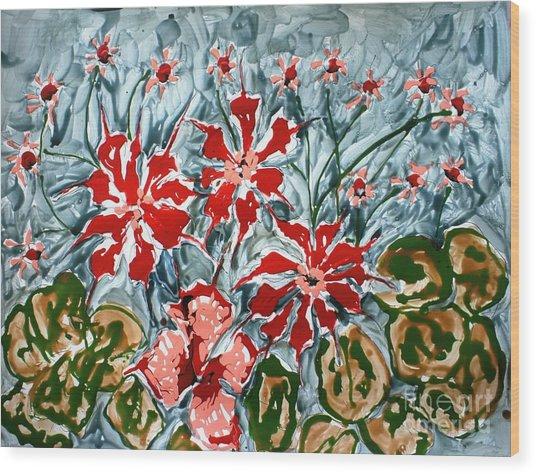 Mann Flowers Wood Print by Baljit Chadha