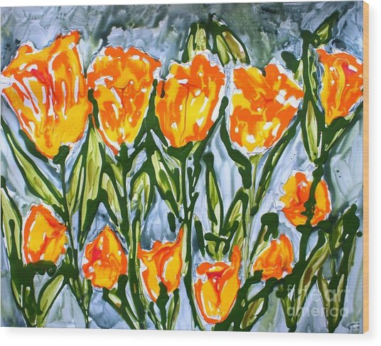Mann Flowers Wood Print by Baljit Chadha
