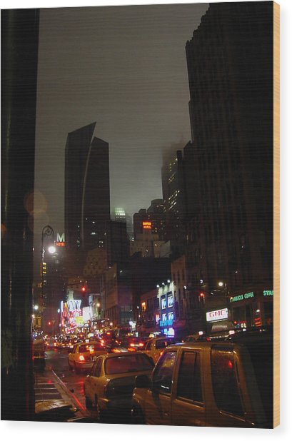 8th Ave Before New York Times Building Wood Print
