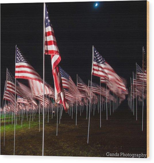 9-11 Flags Wood Print