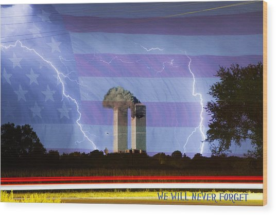 9-11 We Will Never Forget 2011 Poster Wood Print