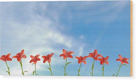 9 Lilies Wood Print