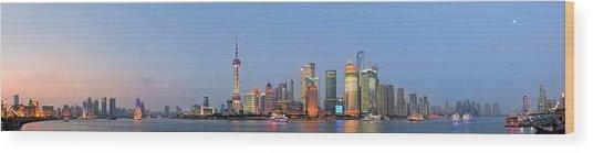Shanghai Cityscape Wood Print