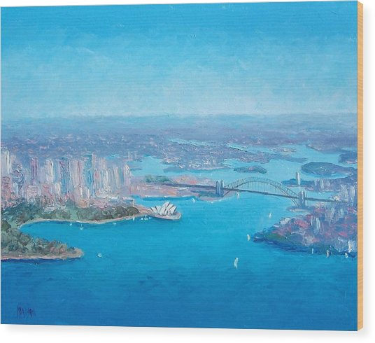 Sydney Harbour And The Opera House Aerial View  Wood Print