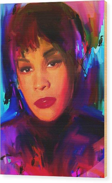 Whitney Houston Wood Print