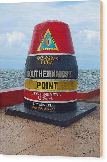 Southernmost Point Key West - 90 Miles To Cuba Wood Print