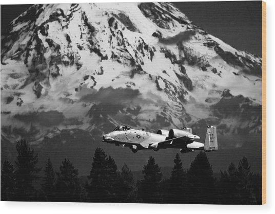 A-10 Over Mt. Rainier Wood Print