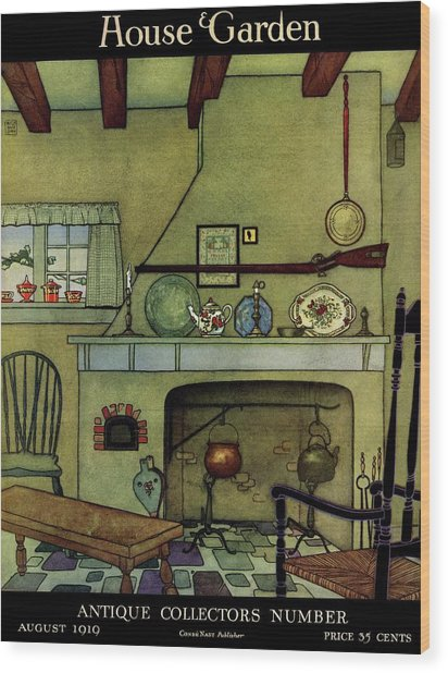 A 1920's Idea Of A Colonial Kitchen Wood Print