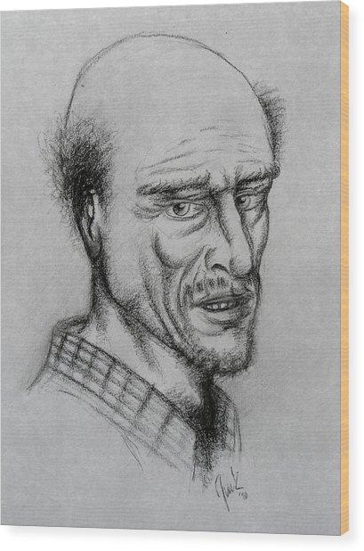 A Bald Guy Wood Print by Joaquin Maldonado