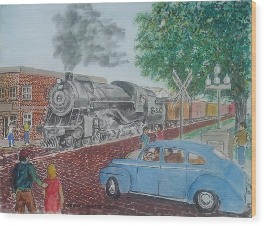 A Baltimore And Ohio Freight Passes Tracy Park Portsmouth Ohio Wood Print