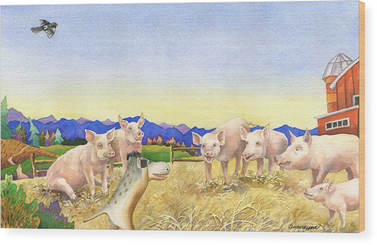A Barnyard Of Pigs Wood Print by Anne Gifford