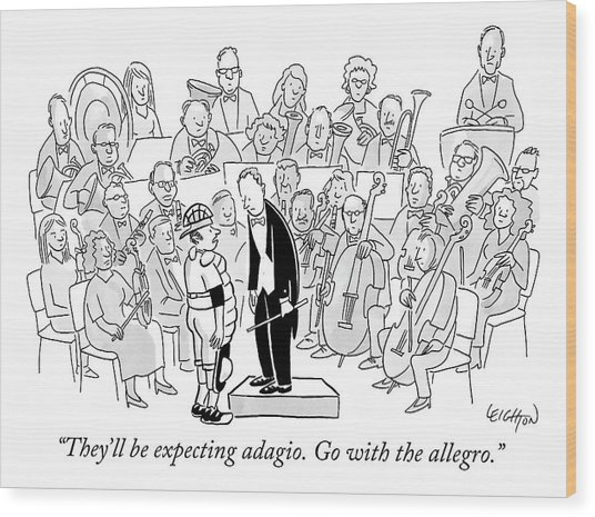 A Baseball Catcher Speaks To An Orchestra Wood Print