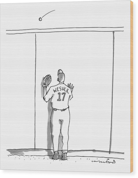A Baseball Player Watches A Ball Fly Over A Wall Wood Print