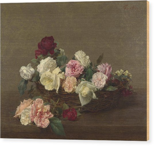 A Basket Of Roses Wood Print