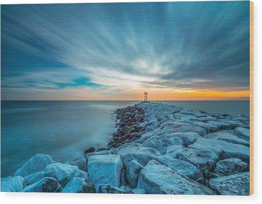 A Beautiful Sunrise At The Old Scituate Lighthouse Wood Print