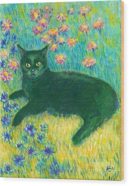 A Black Cat On Floral Mat Wood Print