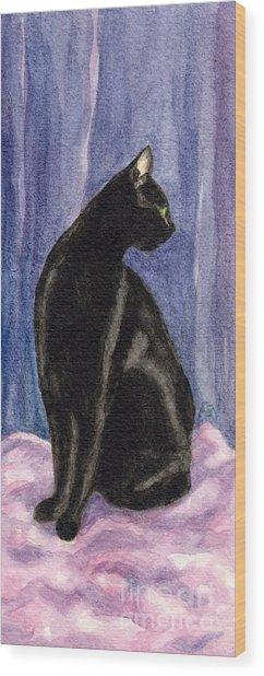 A Black Cat's Sexy Pose Wood Print